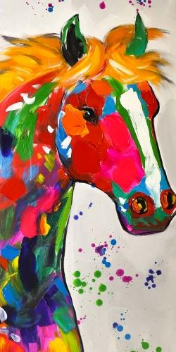Abstract colorful horse with paint splash