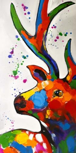 Abstract colorful deer with paint splash