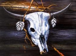 Hanged skull on a wood wall