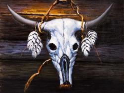 Hanged bull skull