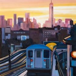 Coucher de soleil sur le métro à new-york