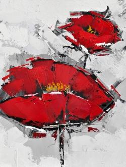 Texturized red poppies