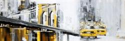 Yellow brooklyn bridge with taxis
