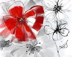 Red & gray flowers