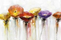 Multiple colorful abstract flowers