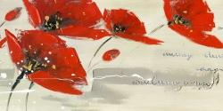 Abstract red flowers in the wind