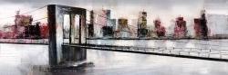 Abstract bridge cityscape
