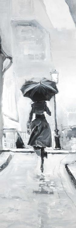 Woman running in the rain