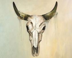 Color fading bull skull