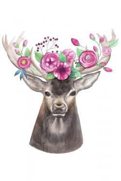 Deer head with flowers