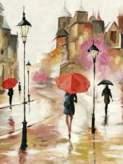 Passersby under their umbrellas