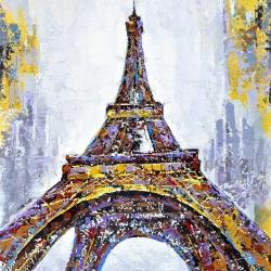Abstract paint splash eiffel tower