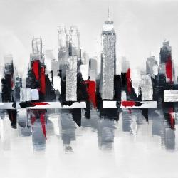 Gray and red cityscape