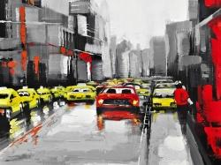 Abstract traffic by a rainy day