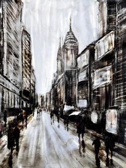 Busy gray street