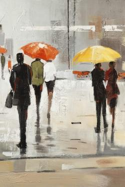 Abstract passersby with umbrellas