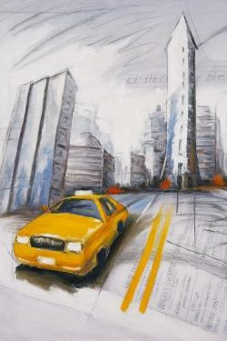 Yellow taxi and city sketch