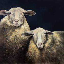 Two sheep blue background