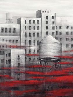 Gray city with red clouds