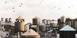 Water towers with birds
