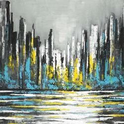 Abstract blue skyline