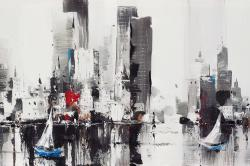 Abstract boats with cityscape