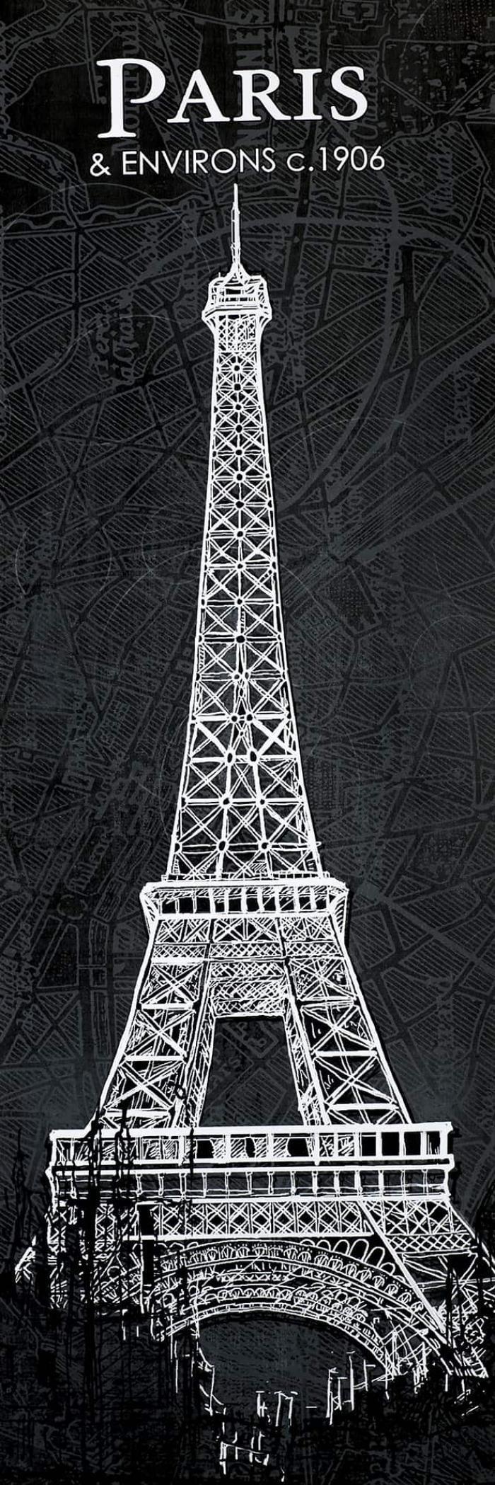 Esquisse de la tour eiffel sur fond de carte