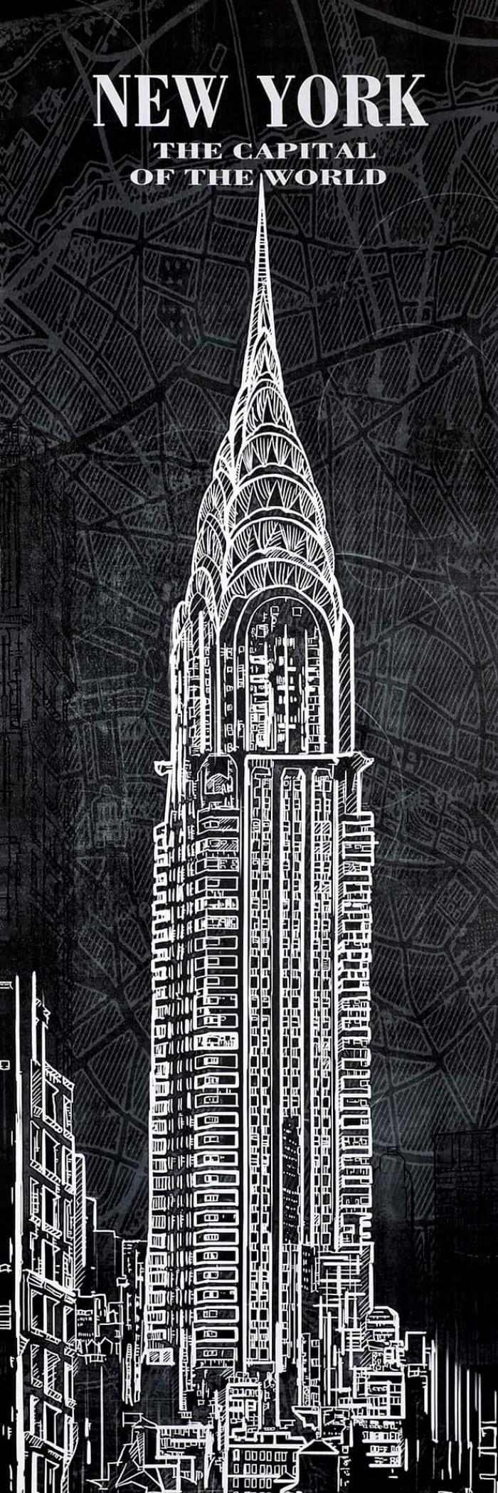 Esquisse de la tour chrystler sur fond de carte