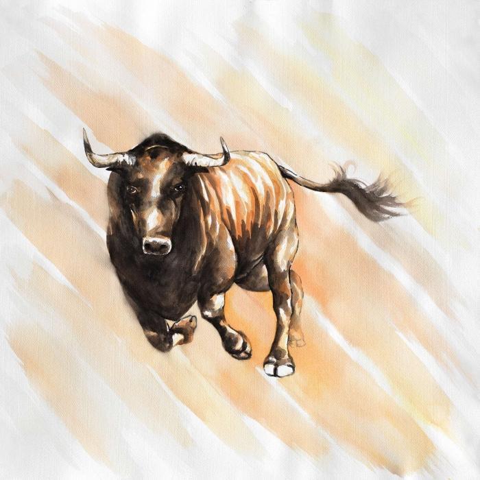 Course d'un taureau à l'aquarelle