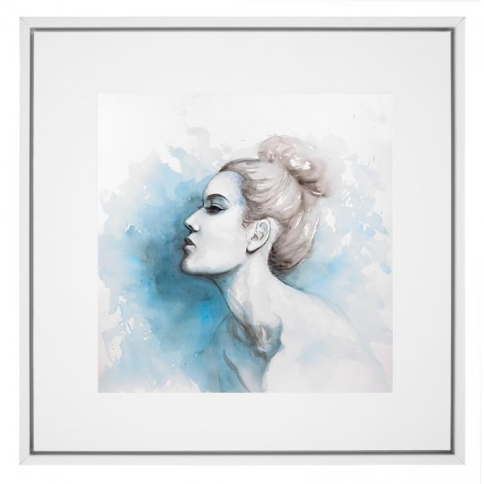Watercolor abstract girl profile view
