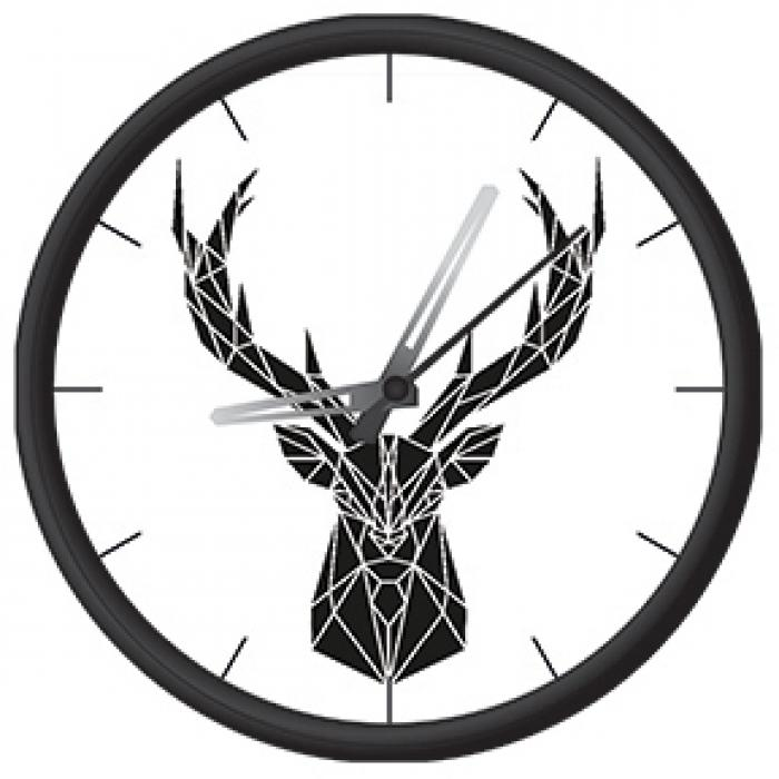 Clock with geometrical deer print