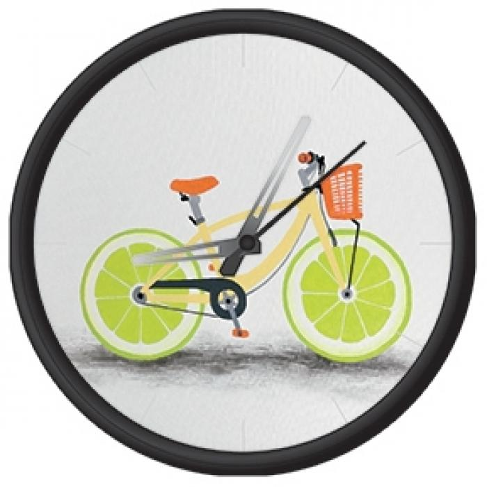 Clock with funny bike print