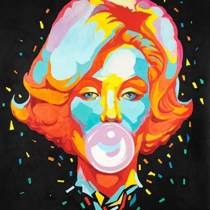 Marilyn monroe colorée avec bubblegum