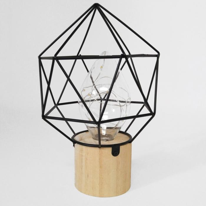 Black metal lamp with wood base