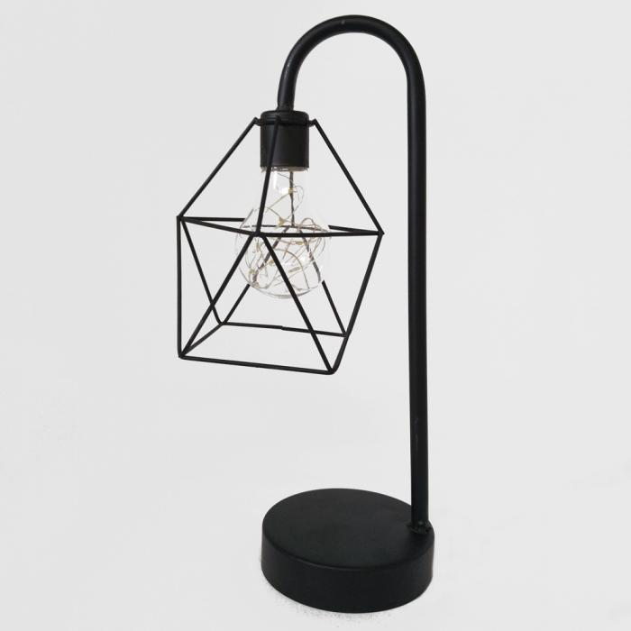 Black metal bedside lamp