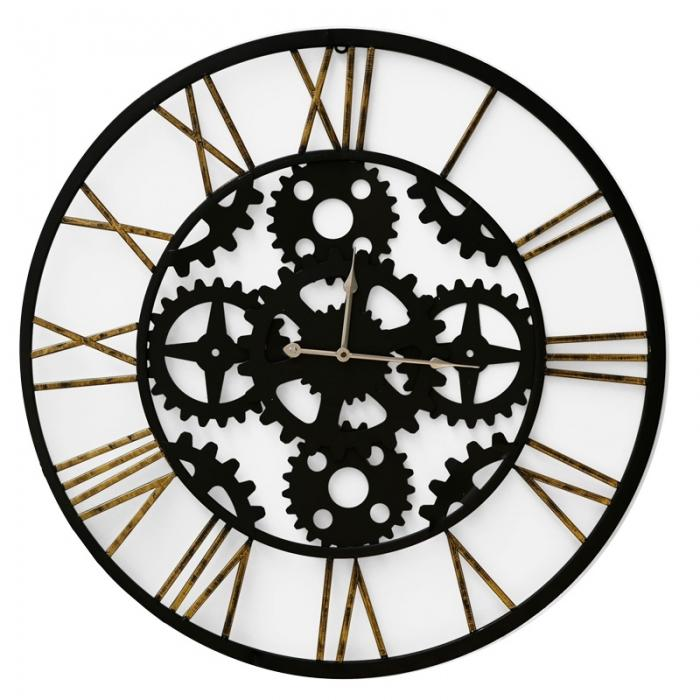Black and gold metal clock with gears