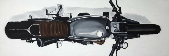 Vue de haut d'une motocyclette