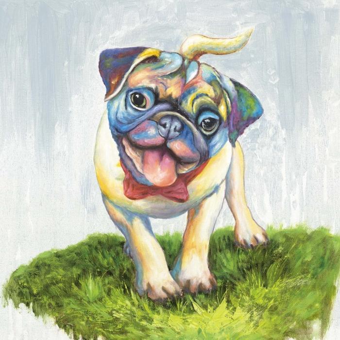 Pug coloré et souriant
