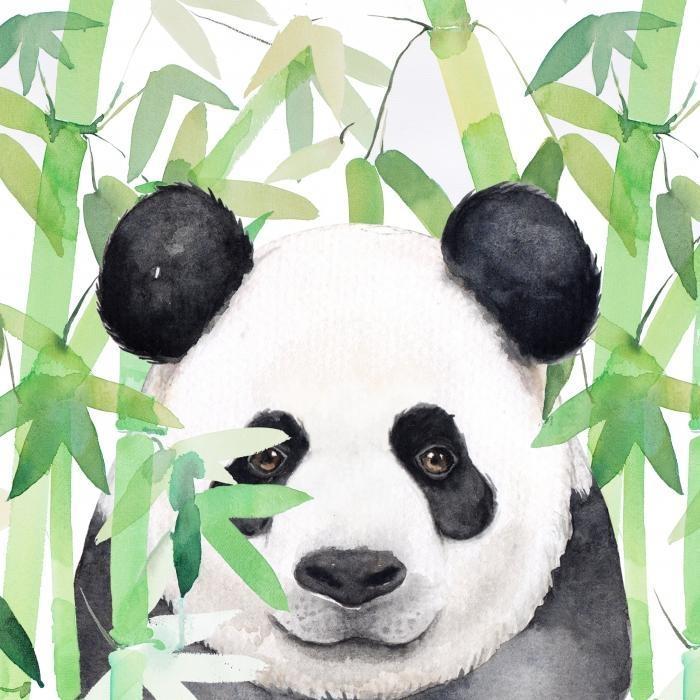 Panda caché dans du bambou