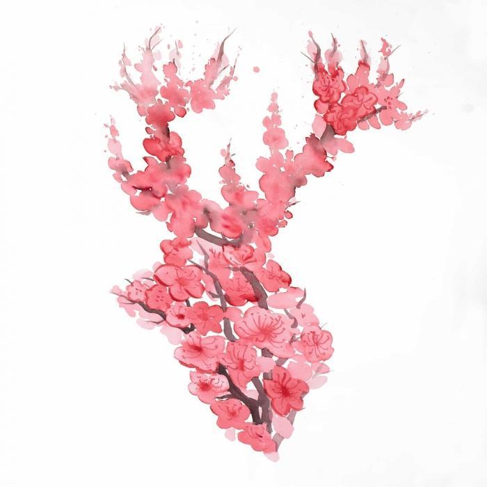 Chevreuil en fleur de cerisier