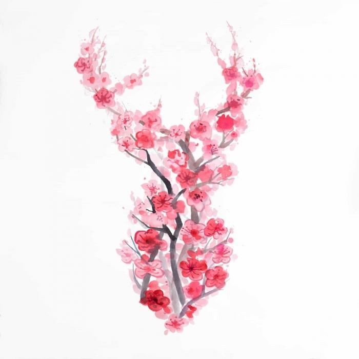 Cerf en fleurs de cerisier