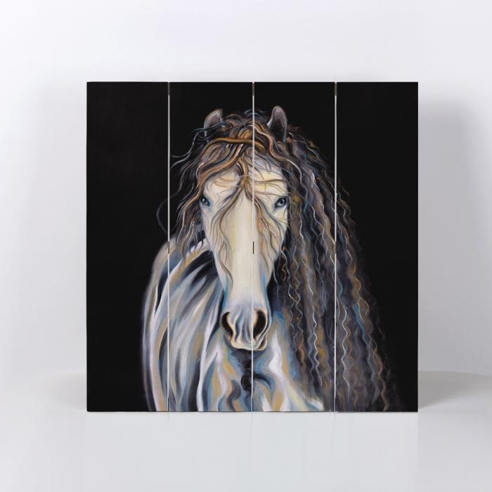 Abstract horse with curly mane