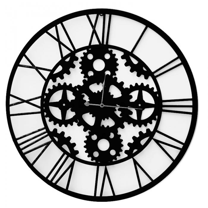 Black metal clock with gears