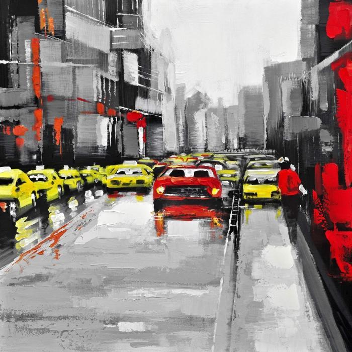 Trafic abstrait par un jour de pluie