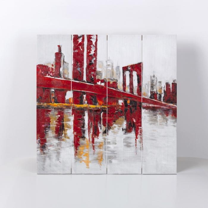 Abstract and industrial red bridge