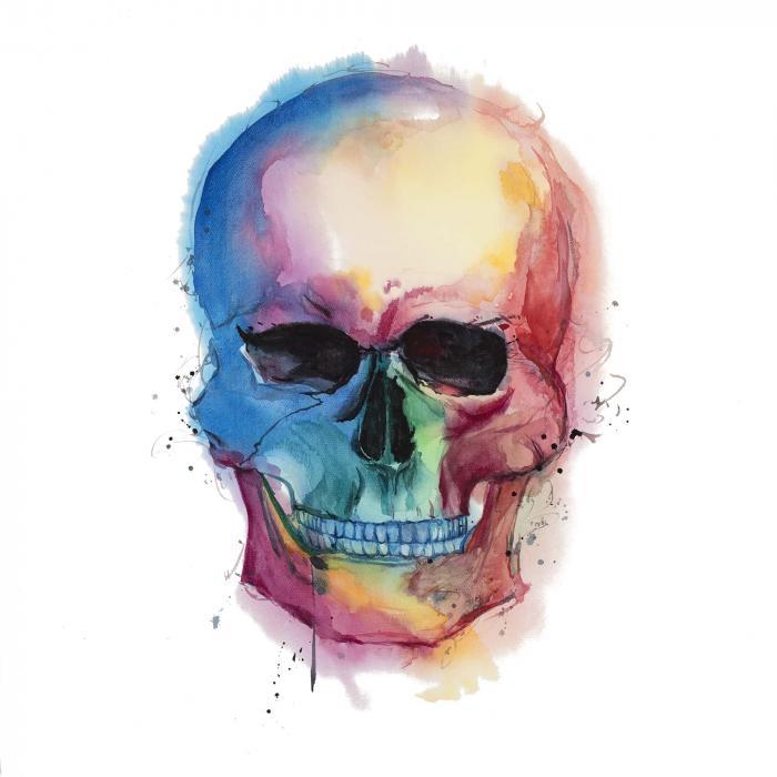 Crâne coloré aquarelle