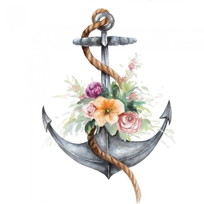 Ancre de bateau avec fleurs