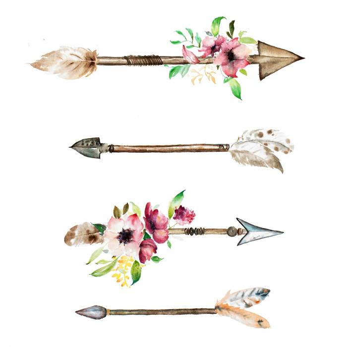 Pointes de flèches et fleurs