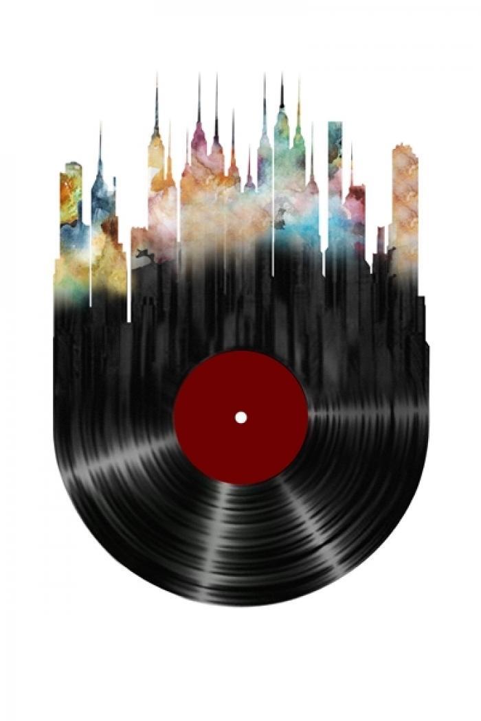 Ville abstraite sur disque vinyle