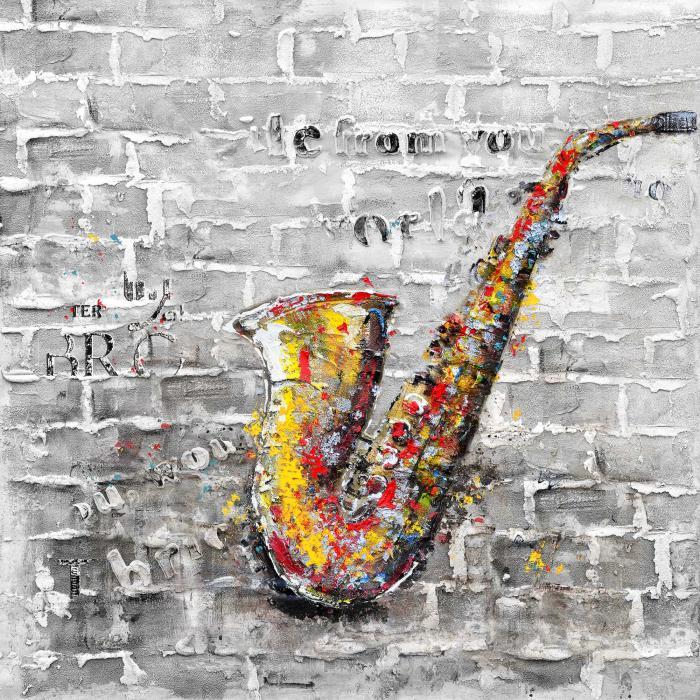 Graffiti d'un saxophone sur mur de brique